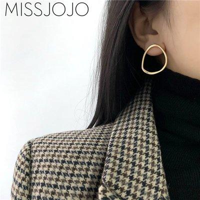 SWEET COVE~小眾設計感歐美風ins大號幾何鈦鋼鍍18K金色耳釘女2021年新款潮