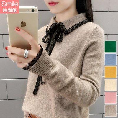 【V3047】SMILE-純淨輕旋‧拼接蕾絲蝴蝶結長袖針織上衣