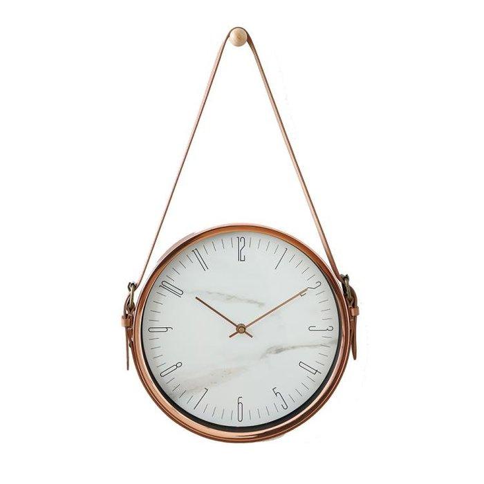 【凱洛詩家飾】北歐簡約設計金屬皮帶10英吋掛鐘 客廳時鐘臥室掛鐘靜音時鐘