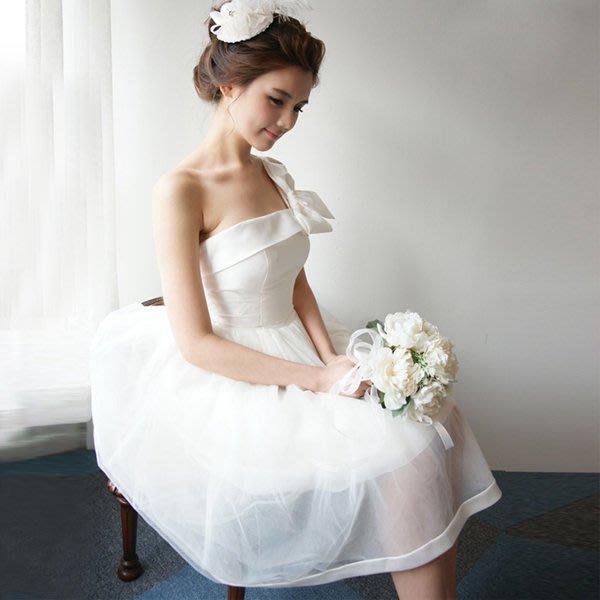 5Cgo【鴿樓】會員有優惠 39418904142 新娘結婚禮服婚禮敬酒服长短款斜肩韓版修身公主洋裝晚禮服 伴娘禮服
