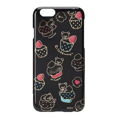 尼德斯Nydus~* 日本正版 San-X 拉拉熊 懶懶熊  硬殼 手機殼 黑底燙金 甜點款 4.7吋 iPhone6