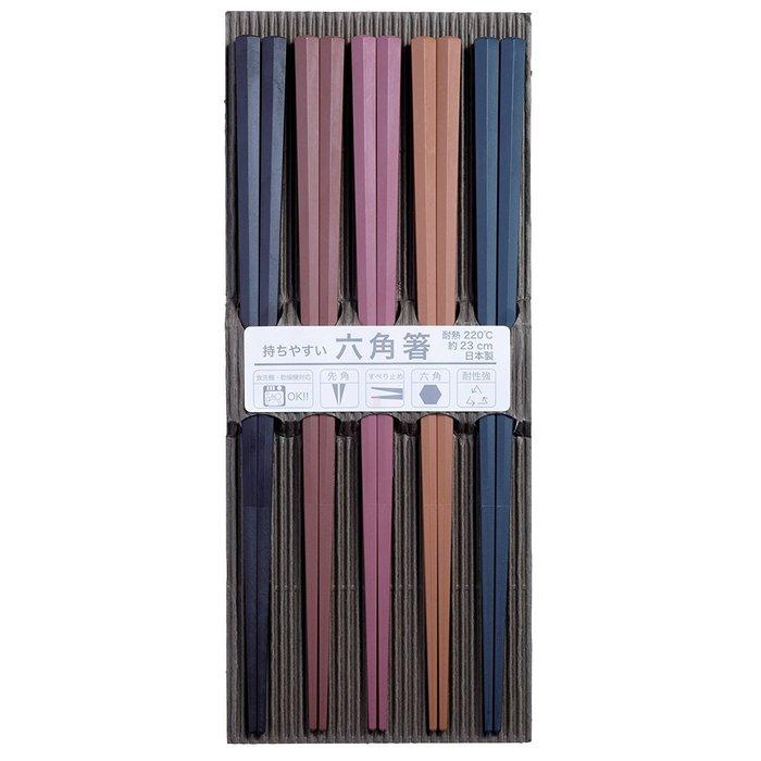 【東京速購】日本製造 耐熱 彩色 六角筷 可機洗 五雙入