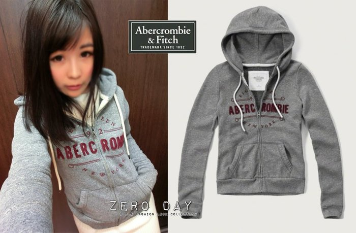 A&F Abercrombie&Fitch Heritage Logo Graphic Hoodie刺繡連帽外套-灰色