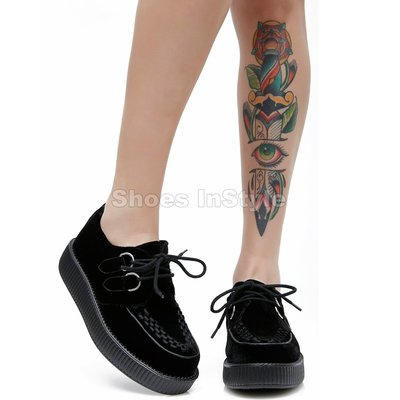 Shoes InStyle《一吋》美國品牌 DEMONIA 原廠正品英式龐克歌德麂皮平底鞋 有大尺碼『黑色』
