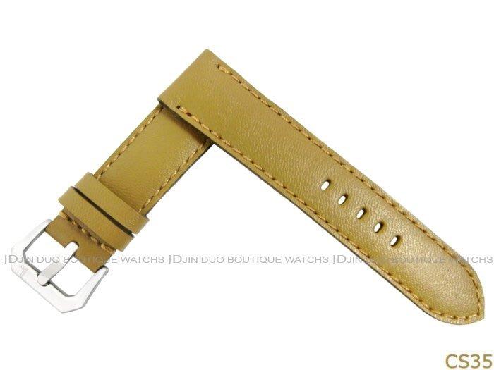 金鐸精品~CS35 沛納海 PANERAI 卡其色漆皮手工皮錶帶