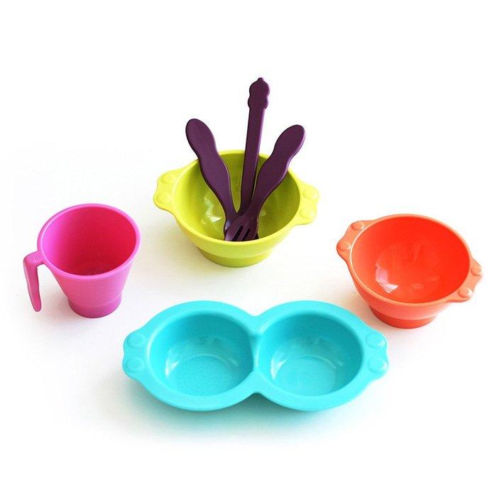 〖洋碼頭〗韓國原產母嬰用品uinlui甘蔗兒童餐具寶寶餐具套裝炫彩7件套裝 L2881