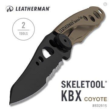 【EMS軍】美國Leatherman SKELETOOL KBX 狼棕款半齒半刃折刀-(公司貨)#832615