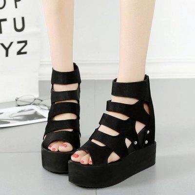 夏季新款鏤空高跟厚底涼鞋女內增高羅馬厚底楔形魚嘴鬆糕厚底女鞋 玫瑰女孩