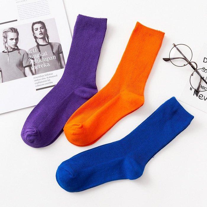 韓國韓系韓版韓風 日系紫色襪子女韓版中筒學院風寶藍色堆堆襪 襪夏季薄款網紅長襪潮