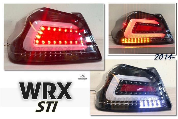 小傑車燈精品--全新 SUBARU WRX STI 序列式 跑馬方向燈 光導 尾燈 透明殼黑框白光條 後燈