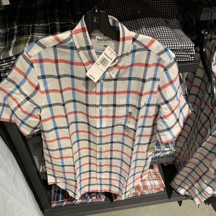 美國AMPM Timberland 添柏嵐 踢不爛 男士 19新款 透氣亞麻棉彩色格子短袖襯衫 A1NUL