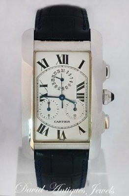 ((天堂鳥)) Cartier Americaine 2312卡地亞多功能18K白金坦克計時自動碼錶 / 經典奢華款