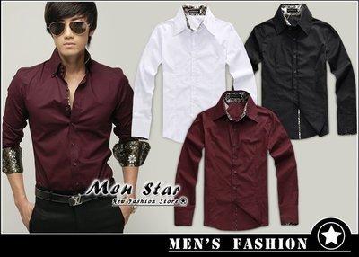 【Men Star】免運費 韓版燙金款修身襯衫 西裝襯衫 純色襯衫 男 女 媲美 stage uniqlo lativ