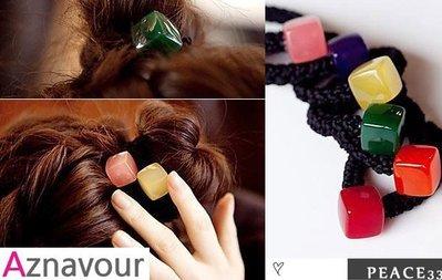 【PEACE33】正韓國AZ品牌進口空運。髮飾飾品 阿茲娜 時尚注目方塊果凍糖果 髮圈/髮束。現+預 優惠$198