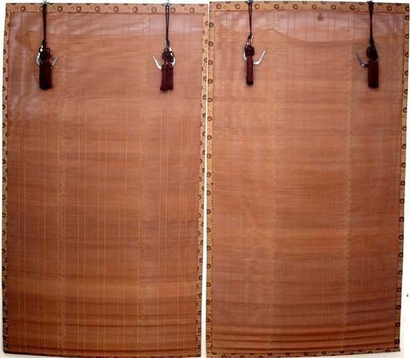 花見小路 1413日本御簾手工竹製銅紐蔓紋竹簾 黃金地菊紋布緣 流蘇墜.絲穗