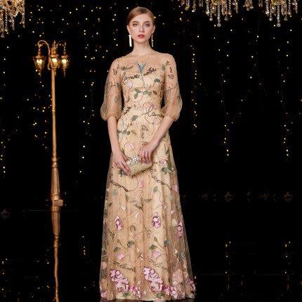 妞妞 婚紗禮服~婆婆媽媽主婚人香檳花色 長禮服主持人顯瘦新娘婚紗長禮服~3件免郵