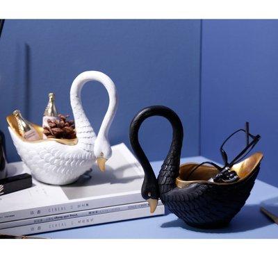 都會家居輕奢風 時尚黑白描金色 天鵝造型收納盒 動物形裝置物盒 小物鑰匙盒 飾盒 飾品架 糖果盒  裝飾品 婚禮布置擺飾