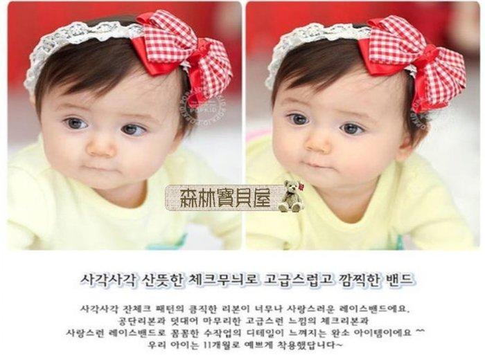 森林寶貝屋~韓款~寶寶格子大蝴蝶結髮飾~雙層大蝴蝶結髮帶~嬰兒髮飾~兒童頭帶~娃娃髮飾~髮箍~拍照必備-2色發售