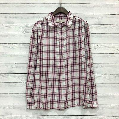 Maple麋鹿小舖 美國品牌LOFT * 粉色格紋襯衫式上衣 * ( 現貨M號 )