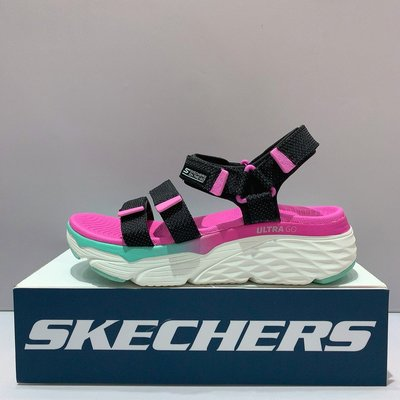 SKECHERS MAX CUSHIONING SLAY 女生 黑粉色 舒適 柔軟 厚底 涼鞋 140120BKMT