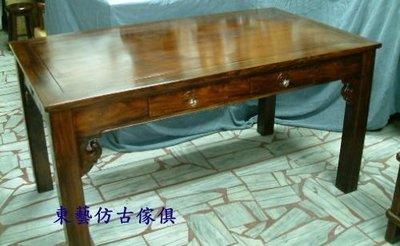 東藝仿古家具~~~雞翅木六抽會議桌~飯...