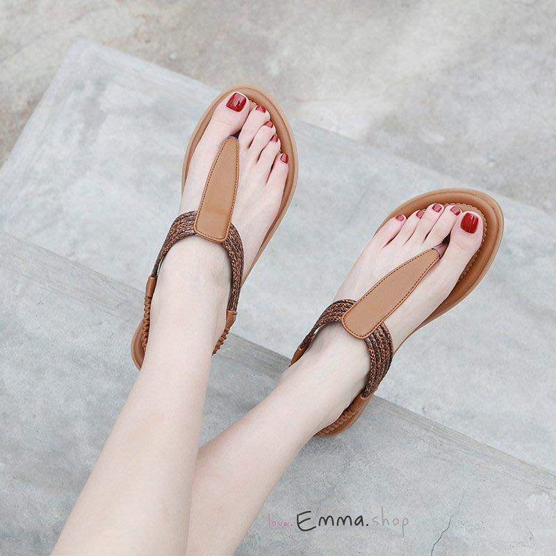 EmmaShop艾購物-實拍 歐美流行質感動物紋夾腳平底涼鞋/大尺碼到42號