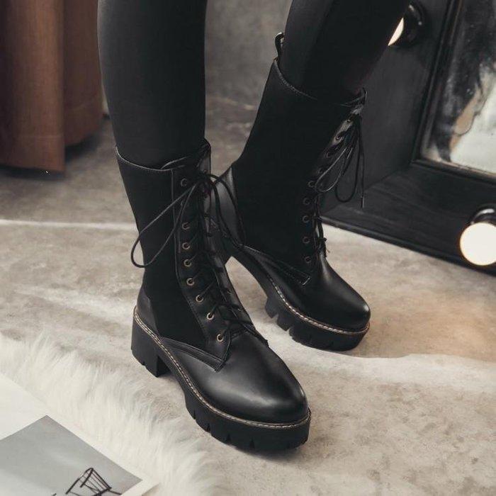 日和生活館 秋冬新款靴子皮靴女長靴粗跟平底搭扣高筒騎士靴長筒軍靴馬丁靴機車靴 482D88