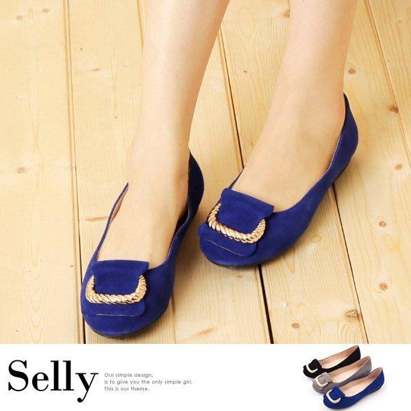 羊麂皮金屬繩紋皮帶釦環娃娃鞋-2色-Selly-沙粒-(G171)