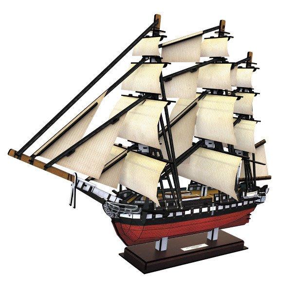 佳廷家庭 親子DIY紙模型3D立體拼圖專賣店 船舶軍艦遊艇 美國1797年憲法號護衛艦 樂立方T4024