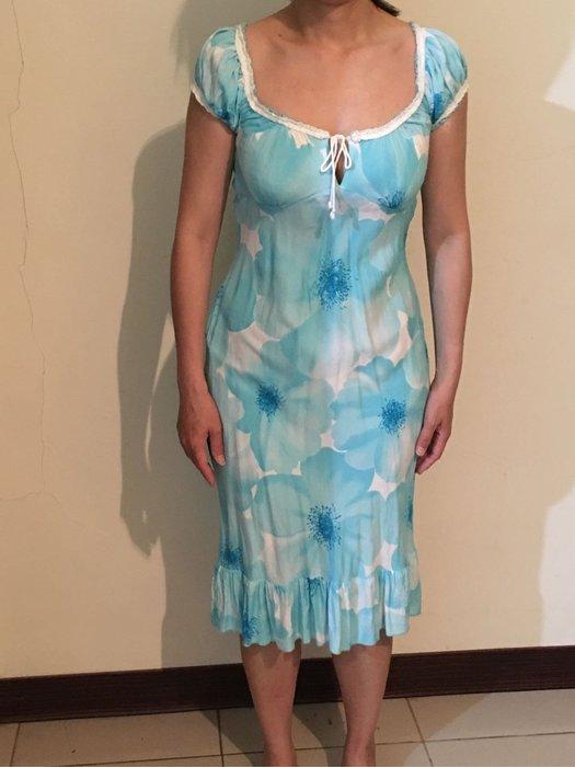 二手水藍色大花魚尾洋裝裙擺荷葉邊 印花短袖連身裙