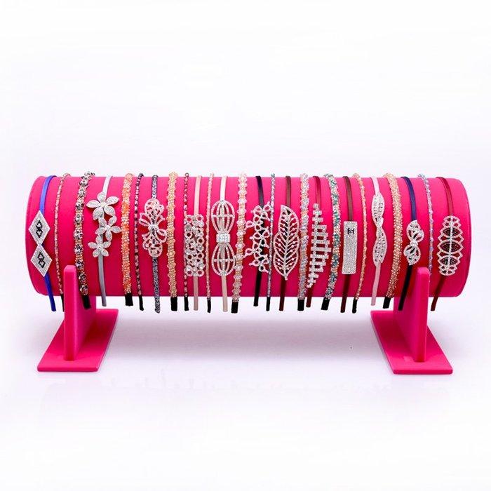 聚吉小屋 #玫紅色發箍架展示架發卡架頭箍收納架子首飾架項鏈架飾品價