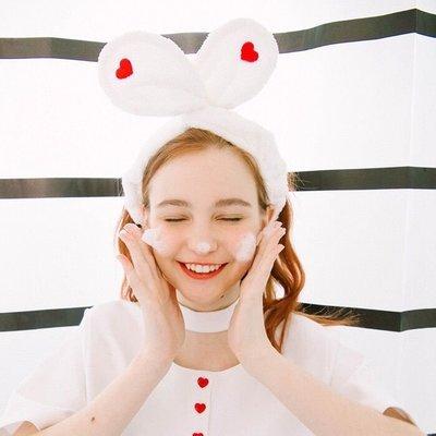 水滴精品♥可愛兔耳朵髮帶發箍 超彈力 寬版 超柔軟吸水 紅色 白色
