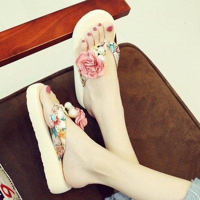 增高拖鞋 甜美花朵外穿沙灘鞋女夏厚底人字拖防滑坡跟涼拖韓版中跟時尚涼鞋