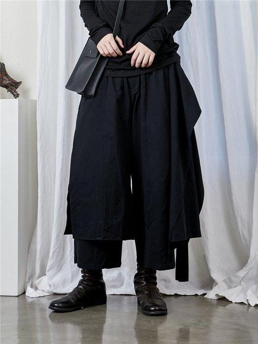 【鈷藍家】山本風SU秋小眾Yohji暗黑武士褲裙雙層不規則圍裙闊腿褲裙褲