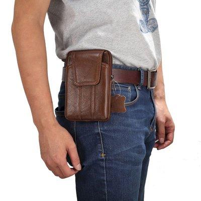 IPhone XS MAX 6s 7 8 Plus 6.0吋通用 牛皮真皮繫腰手機套 保護套保護袋直式腰包皮套N1760