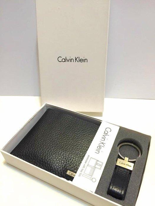 【豬豬老闆】Calvin Klein CK 皮夾 短夾【現貨正品】黑色 (含鑰匙圈) 含原廠盒