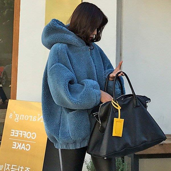 暖呼呼好質料保暖外套 寬大柔順羊羔毛絨連帽外套 艾爾莎【TGK8066】