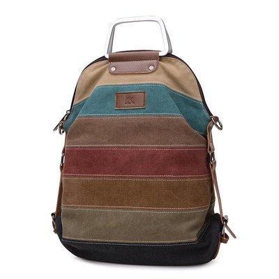 手提包帆布肩背包-撞色條紋多功能大容量女包包2款73wa40[獨家進口][米蘭精品]