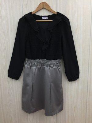 【愛莎&嵐】RING 女 黑色荷葉領x銀色裙擺長袖洋裝 / M 1080226