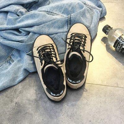 小尤家~百搭加絨帆布鞋女冬季新款韓版學生平底板鞋加絨保暖棉鞋街拍