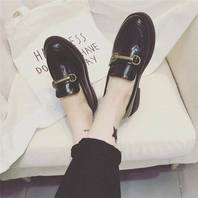 女鞋學生平底英倫風復古單鞋百搭小皮鞋女潮