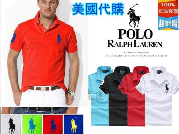 美國正品代購  小馬標Polo Ralph Lauren 經典款男短袖T恤 加大加肥 3字大馬標3扣刺繡男士翻領短袖