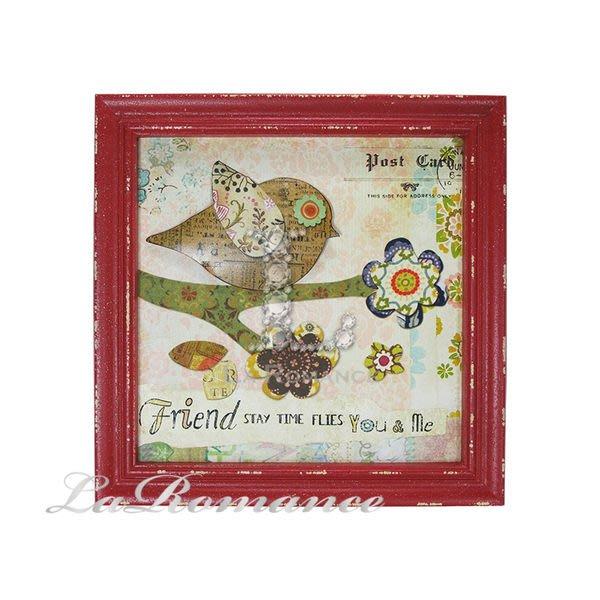 【芮洛蔓 La Romance】花朵點點系列 - 咖啡小鳥鐵製木板畫 / 童趣立體掛飾 / 畫飾 / 掛畫