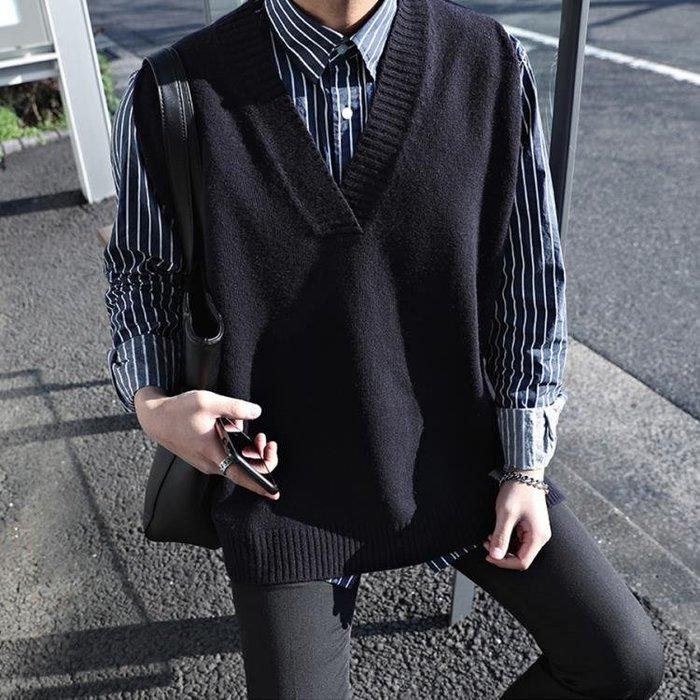 秋寬鬆無袖薄款毛衣日繫情侶男士坎袖V領針織馬甲線衣背心潮