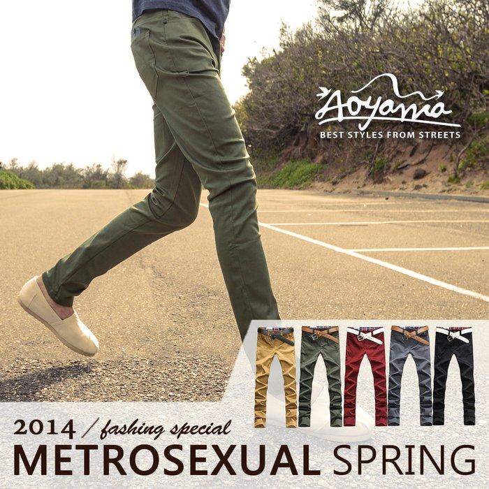 休閒長褲 率性簡約錐形皮標配色格文內裏彈力休閒長褲【A1368】 有加大尺碼 青山AOYAMA