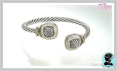 紐約時尚金屬繩索 個性手環 簡約線條面鑲崁晶鑽優質美感  男女皆宜 個性美感 品味時尚 #現貨✽ 17 Glory  ✽