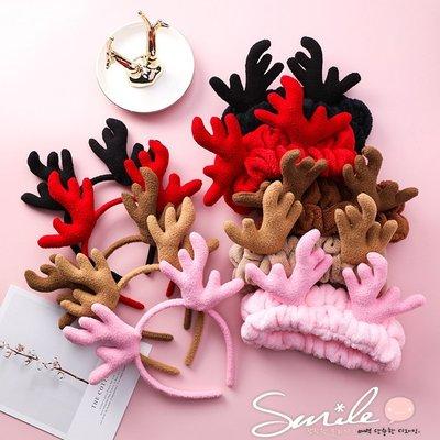 【DJ10084】SMILE-可愛聖誕鹿角髮箍/毛絨麋鹿洗臉髮帶束