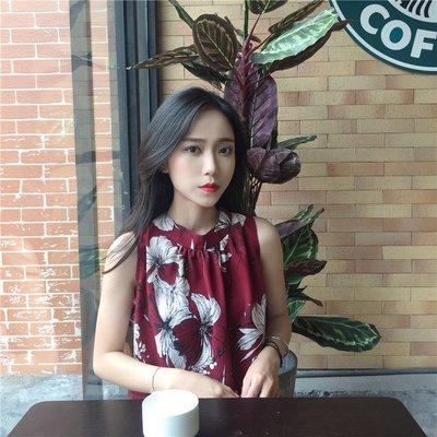 夏季新款韩版女装印花挂脖雪纺衫女外穿无袖背心休闲上衣