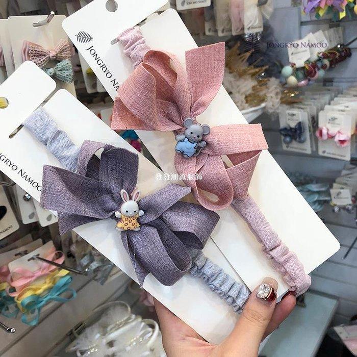 發發潮流服飾韓國進口Palmtree兒童髮飾可愛卡通髮箍布藝蝴蝶結髮帶女寶寶頭帶