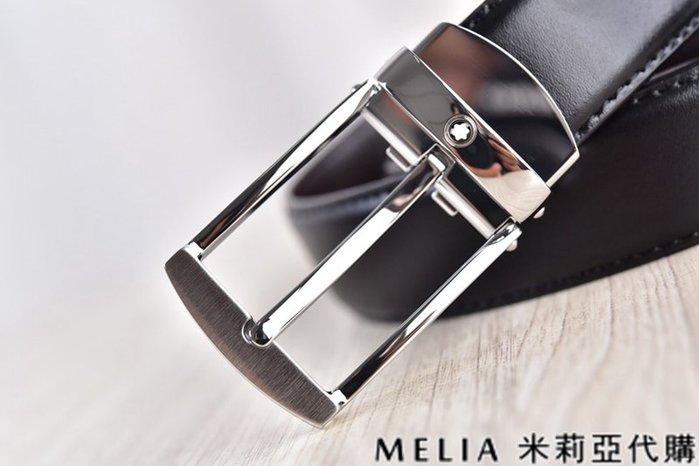 Melia 米莉亞代購 美國精品代購 Montblanc 萬寶龍 皮帶 腰帶 拉絲方扣 銀色 純鏡面打磨 包裝齊全